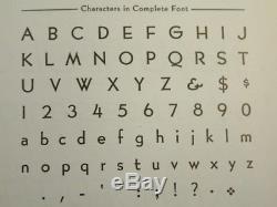 18pt Bernhard Gothic Med Nouveau Letterpress Type Atf # 525 Caps Complète, L. C. Et Figue