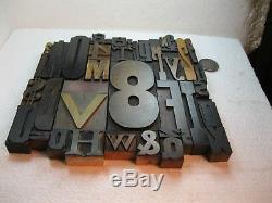 40 Pièces Type De Bois Typographique Vintage A-z, 0-9 Et! , $, &. Beau Type Ancien