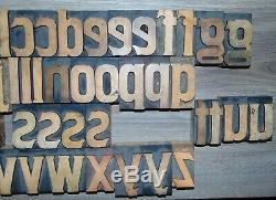 47 Vintage Bois Letterpress Type D'impression Blocs Lettres Minuscules 2 1/2 Grand