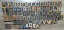 73 Bois Typo Blocs D'impression Type De Capital Alphabet 1 5/16 Grand