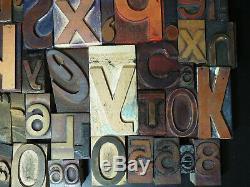 75+ Vintage Wood Type Letterpress Blocs Lot Impression Art Design 1 À 3-3 / 4