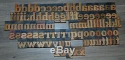 96 1 5/8 Bois Typo Blocs D'impression Type De Minuscules Alphabet