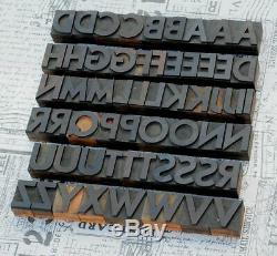 A-z Alphabet 1,42 Typographie En Bois Blocs D'impression De Type Bois D'imprimante Vintage