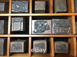 Advertising Old Letterpress Bois Blocs En Métal Vintage Mixte Lot Bois Case