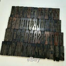 Antique 5 Type D'impression De Blocs En Bois Complet Alphabet Typo 62 Lettres