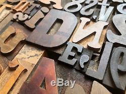Antique Letterpress Printers Type De Bois MIX 43 Pièces