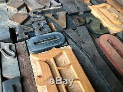 Antique Typo Imprimantes Type Bois MIX 57 Pièces