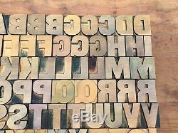 Antique Vtg Bois Typo Imprimer Type De Bloc Lettres A-z Alphabet Set Complet