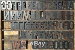 Bloc De Lettres Typographiques En Bois Vintage Type 61 Lettres Chiffres 4 1/4 4,25 Pouces