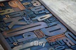 Collage Unique Composition Typographique Caractères En Bois Type Dessin De Tiroir Rare