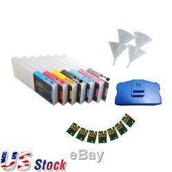 Etats-unis! 8pcs Epson Stylus Pro 4800 Recharge Des Cartouches D'encre Avec Puce Resetter