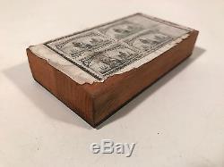 Le Timbre-poste Américain Antique A Soufflé Le Cuivre Et La Planche D'impression En Bois De La Plaque 4c Columbus