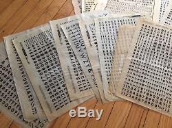 Letraset Vintage Lettrage Type De Transfert Lot De Lettres Variées Nombres Symboles