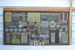 Lettre Imprimante Antique D'impression Presse Du Bloc Shell Oil Journal 32x17 Mur Accrocher