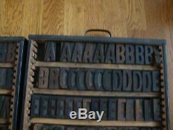 Lot 2 Plateaux Bois Antique Typo Imprimer Bloc De L'imprimante Alphabet & Numbers 2