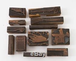 Lot De 12 Outils De Typographie En Bois Bloc De Cuivre Vintage Hardware Store