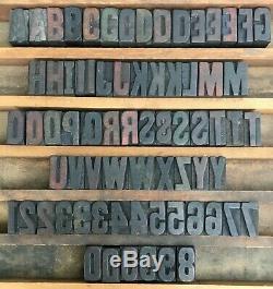 Lot De 71 Type D'impression Typographique Bois Blocs Lettres Nombres Ponctuation 1