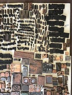 Lot De 956! Blocs D'imprimantes Vintage, Cuivre, Acier, Bois, Lettres, Logos