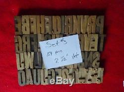 Type Vintage Impression Bois Letterpress Letter 54 Pièces 2 & 1/2 Haute