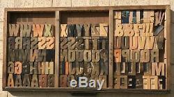 Vintage 100 Bois Lettres Letterpress Type D'impression 2-1 / 2 2.5 Lot Complet Set