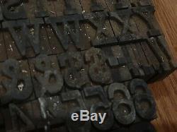 Vintage 1 Blocs D'impression En Bois Letterpress Lettres De L'alphabet Chiffres Type De Bois