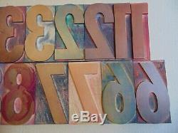 Vintage Bois Letterpress Type D'impres Blocs Nombres 0-9 5 Grands
