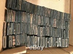 Vintage Printing Type De Bois Blocs Imprimantes Lot De 114 Diff. 1 + 5/16 Typographie