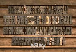 Vtg 102 Bois Letterpress Type D'impression Bloc Lettres Majuscules Nombres Symboles 2